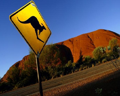 roo sign at ayers rock